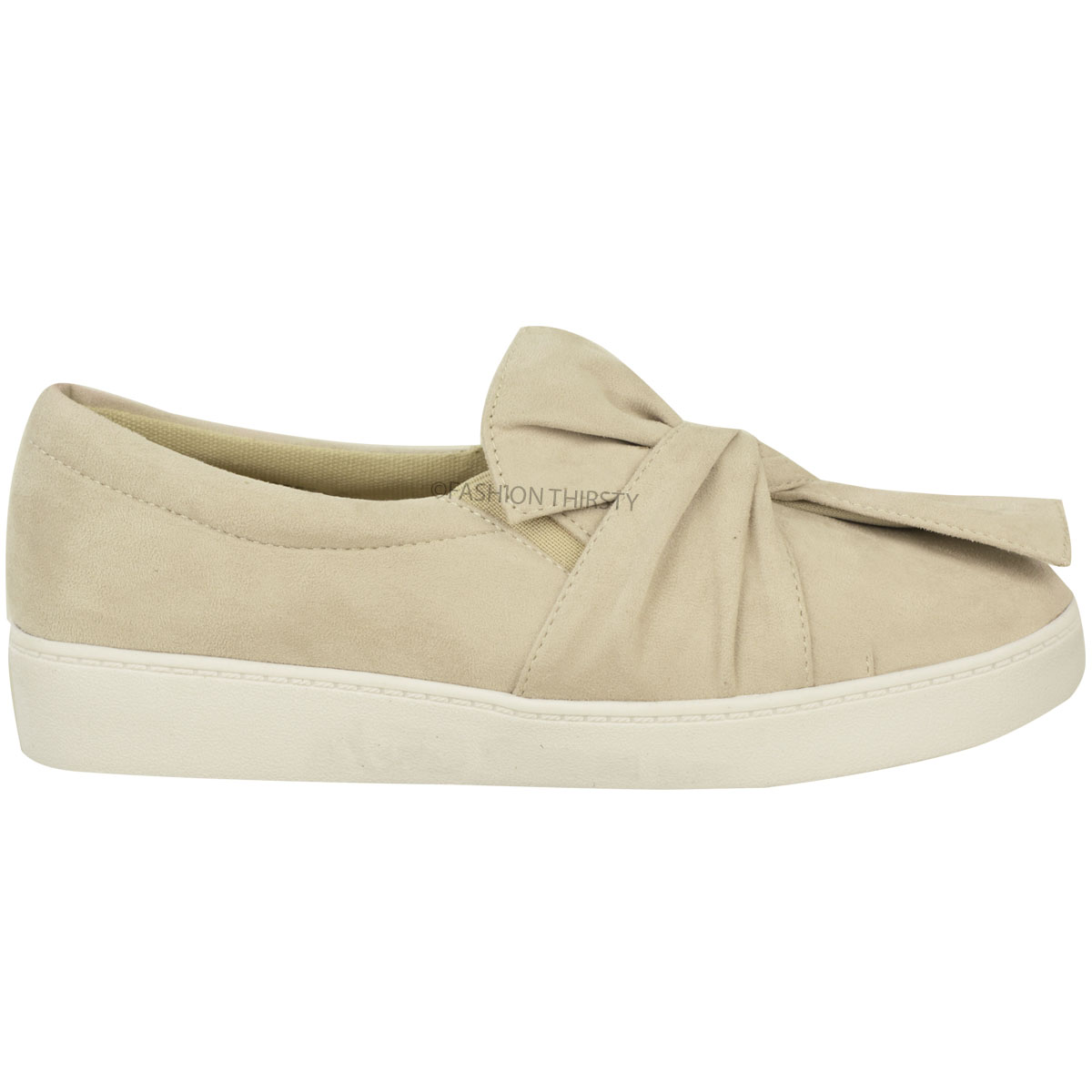 New Womens Ladies Trainers Faux Suede Slip On Flat Bow Sneakers Pumps Shoes Size