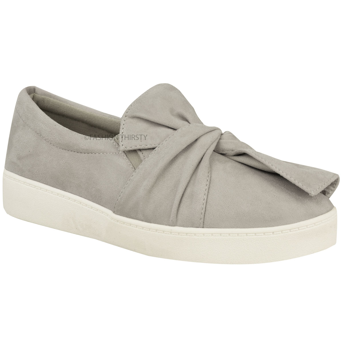 New Womens Ladies Trainers Faux Suede Slip On Flat Bow ...
