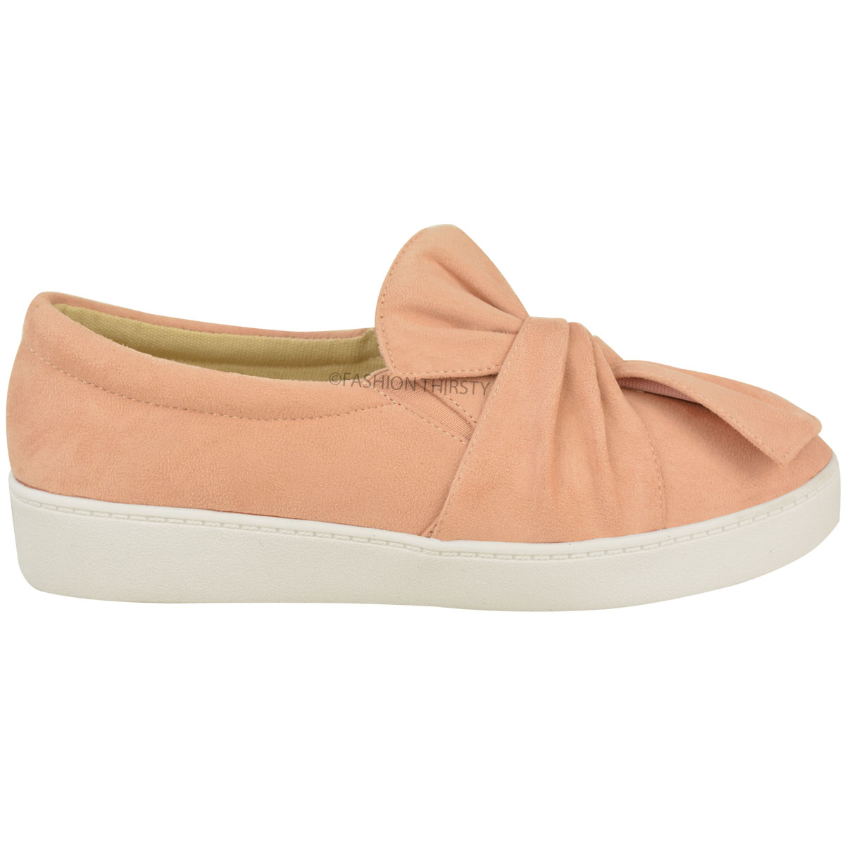 LADIES WOMENS BOW PUMPS TRAINERS SLIP ON SHOES SNEAKERS FLAT SHOES FAUX LEATHER