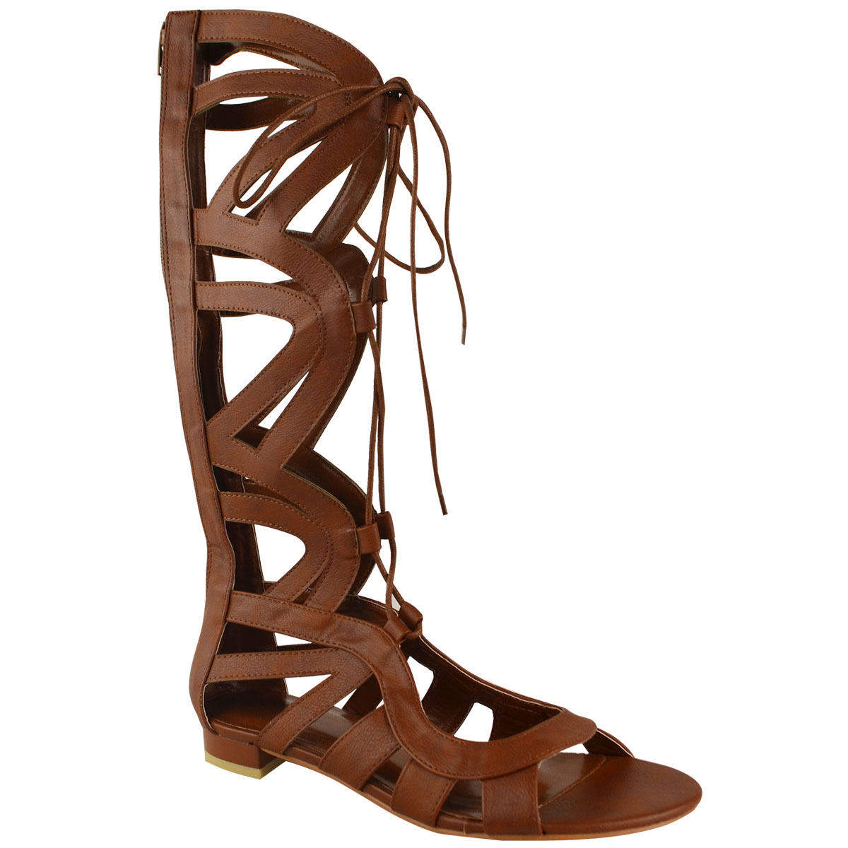 c37cbbfc2e6 WOMENS LADIES KNEE HIGH GLADIATOR LACE UP CUT OUT FLAT SANDALS ...