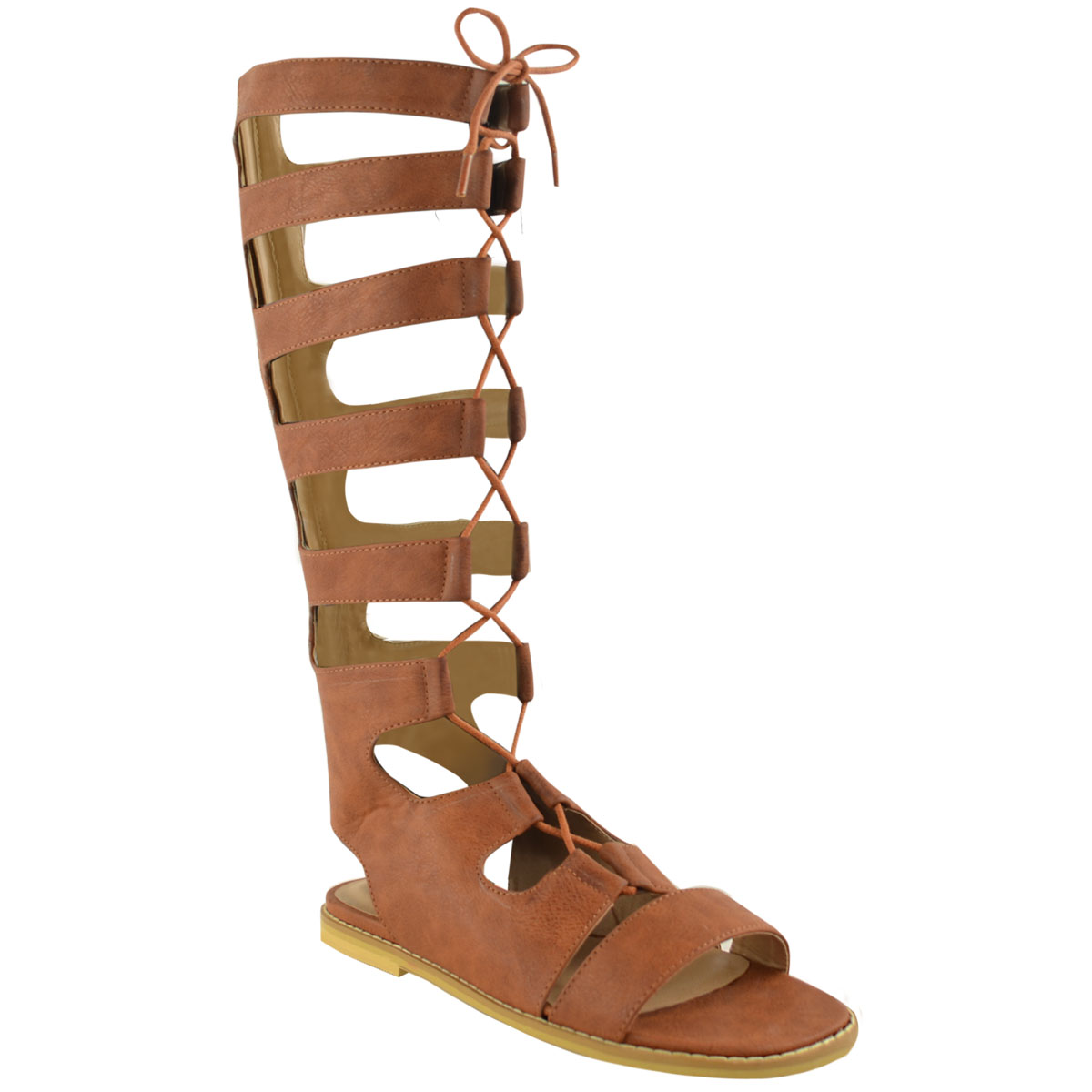 345d9d714f3b WOMENS LADIES KNEE HIGH GLADIATOR LACE UP CUT OUT FLAT SANDALS ...