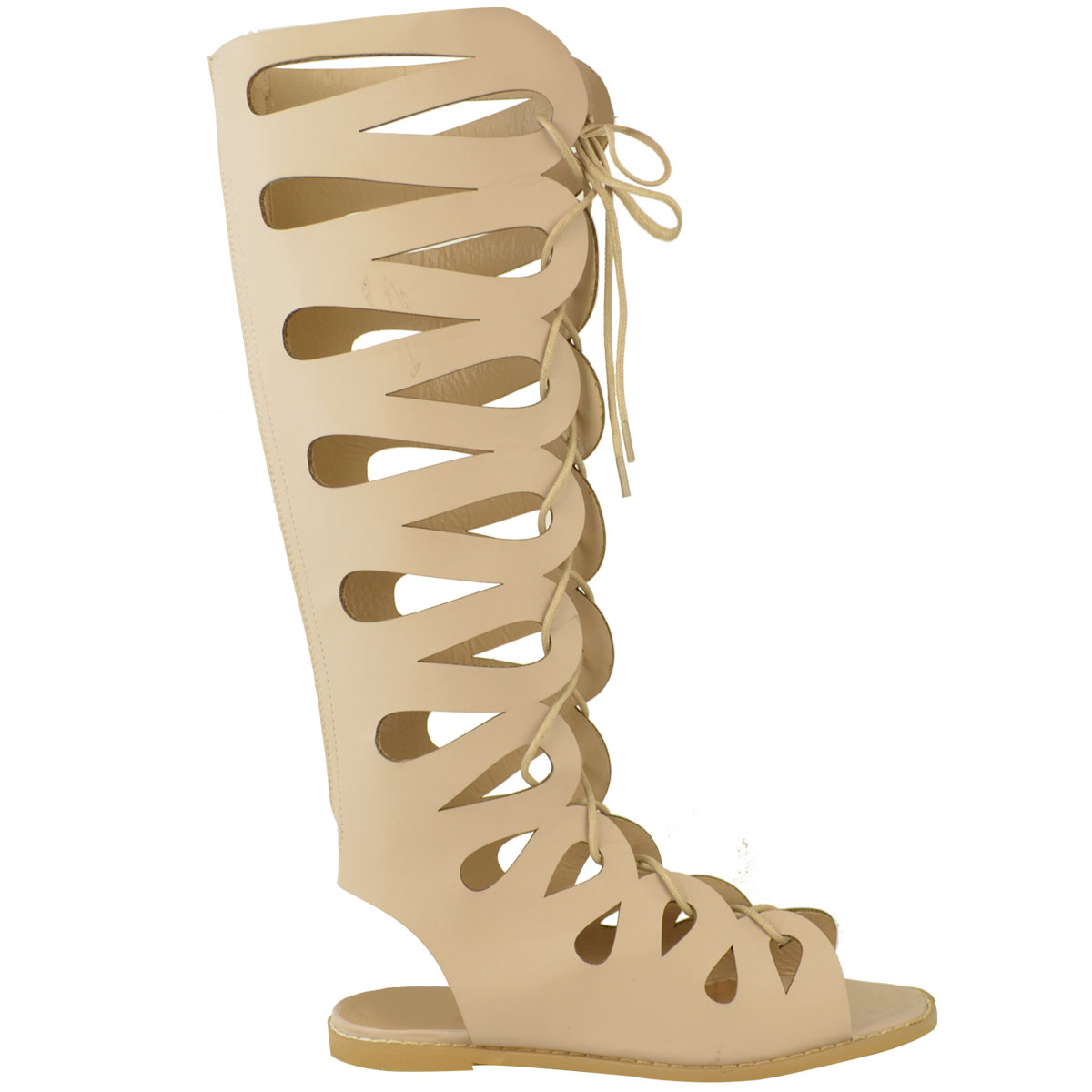 Details about Womens Ladies Flat Knee High Gladiator Sandals Strappy Beach Cut Out Boots Size