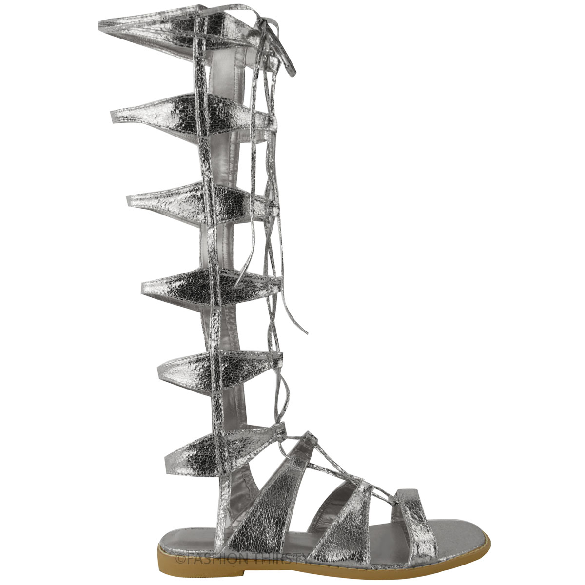 womens flat knee high strappy gladiator sandals