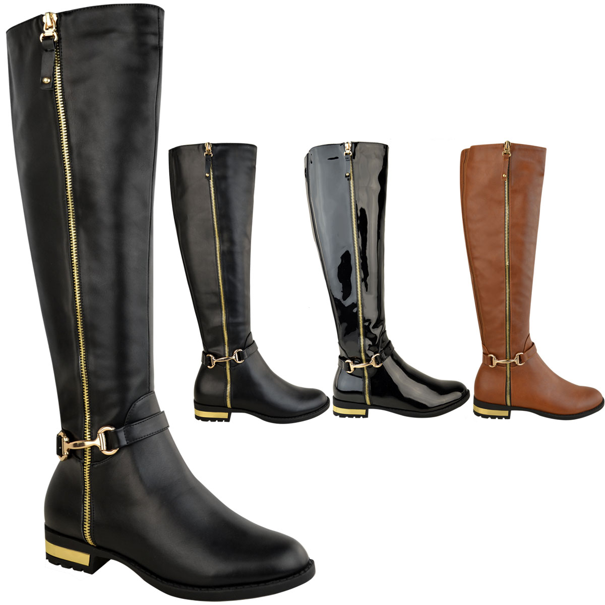 Womens Ladies Flat Stretch Knee High Riding Boots Grip