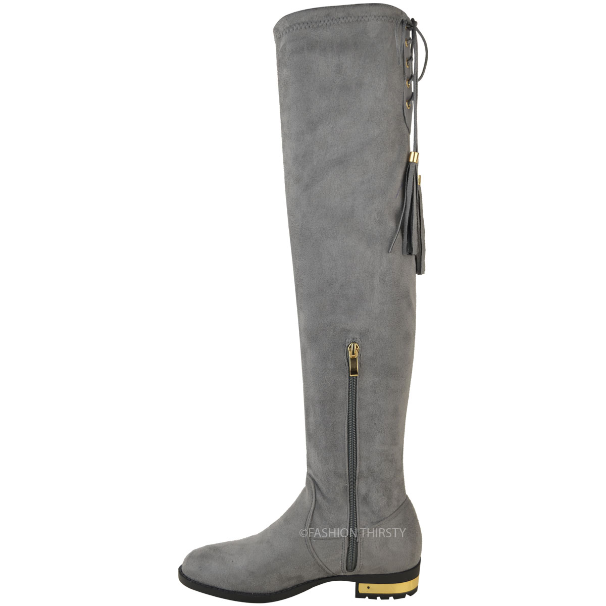 Womens Ladies Over The Knee Flat Boots Faux Suede Thigh