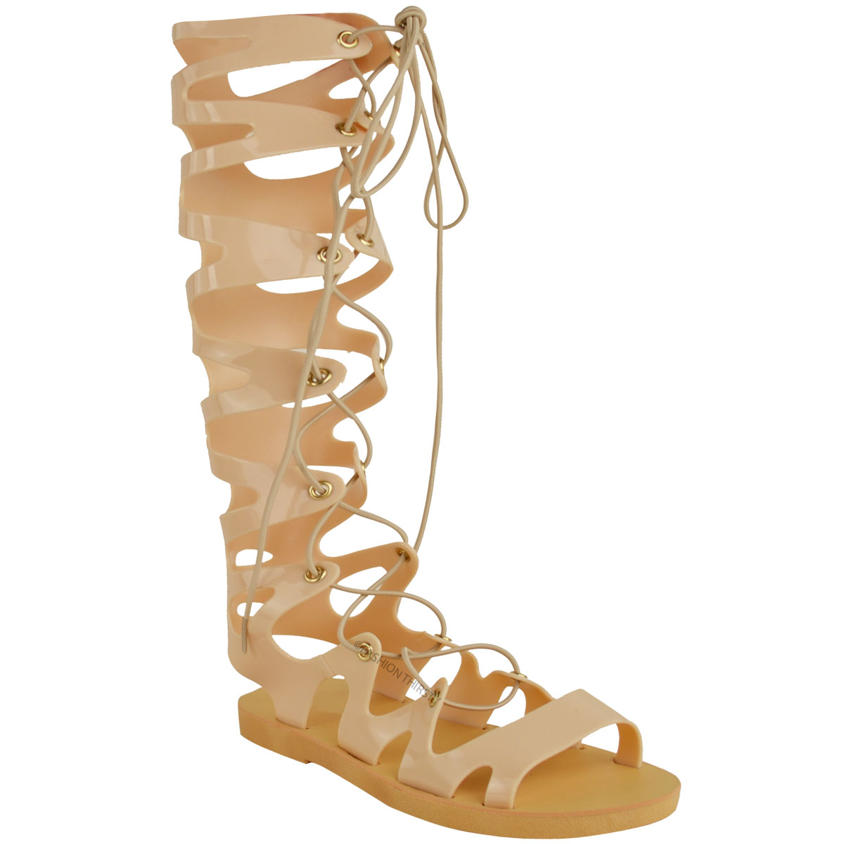 Details about Womens Ladies Knee High Lace Up Jelly Sandals Gladiator Flat Summer Shoes Size