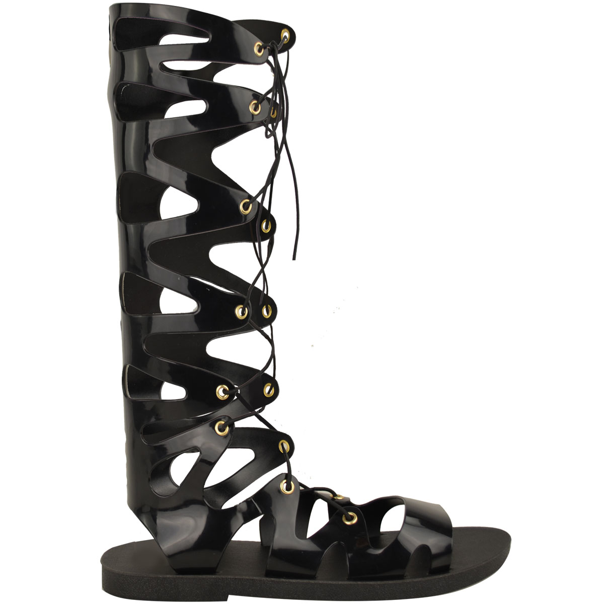 Womens-Ladies-Flat-Knee-High-Gladiator-Sandals-Strappy-Beach-Cut-Out-Boots-Size thumbnail 3