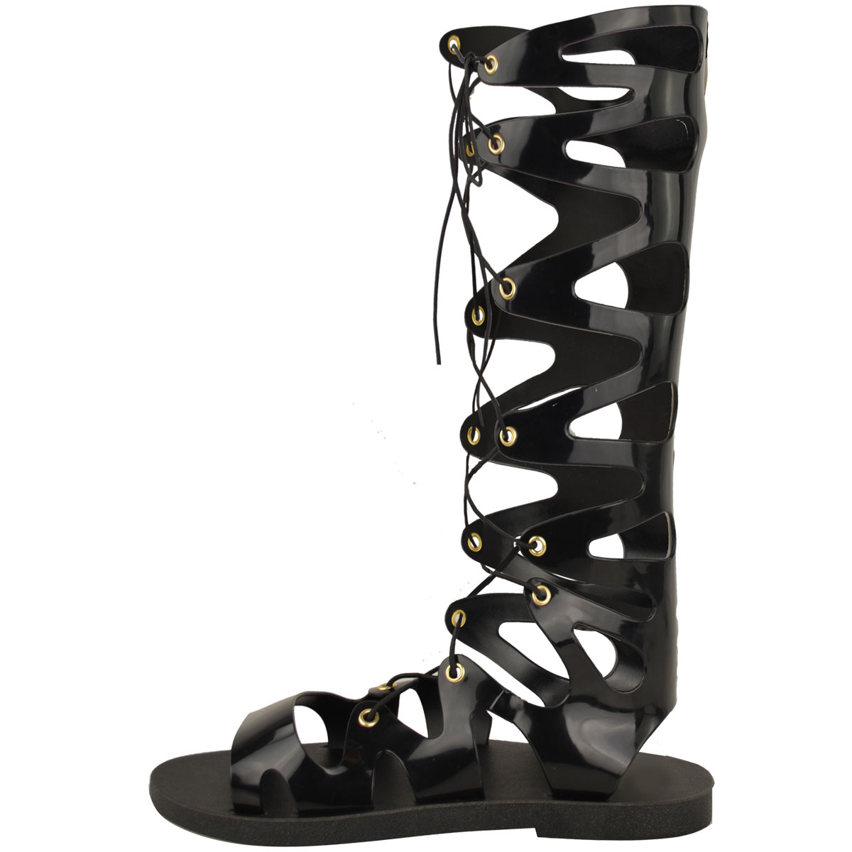 Womens-Ladies-Flat-Knee-High-Gladiator-Sandals-Strappy-Beach-Cut-Out-Boots-Size thumbnail 4