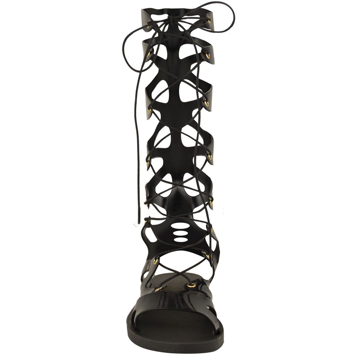Womens-Ladies-Flat-Knee-High-Gladiator-Sandals-Strappy-Beach-Cut-Out-Boots-Size thumbnail 5