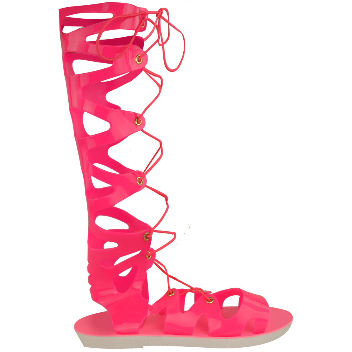 Womens-Ladies-Flat-Knee-High-Gladiator-Sandals-Strappy-Beach-Cut-Out-Boots-Size thumbnail 7