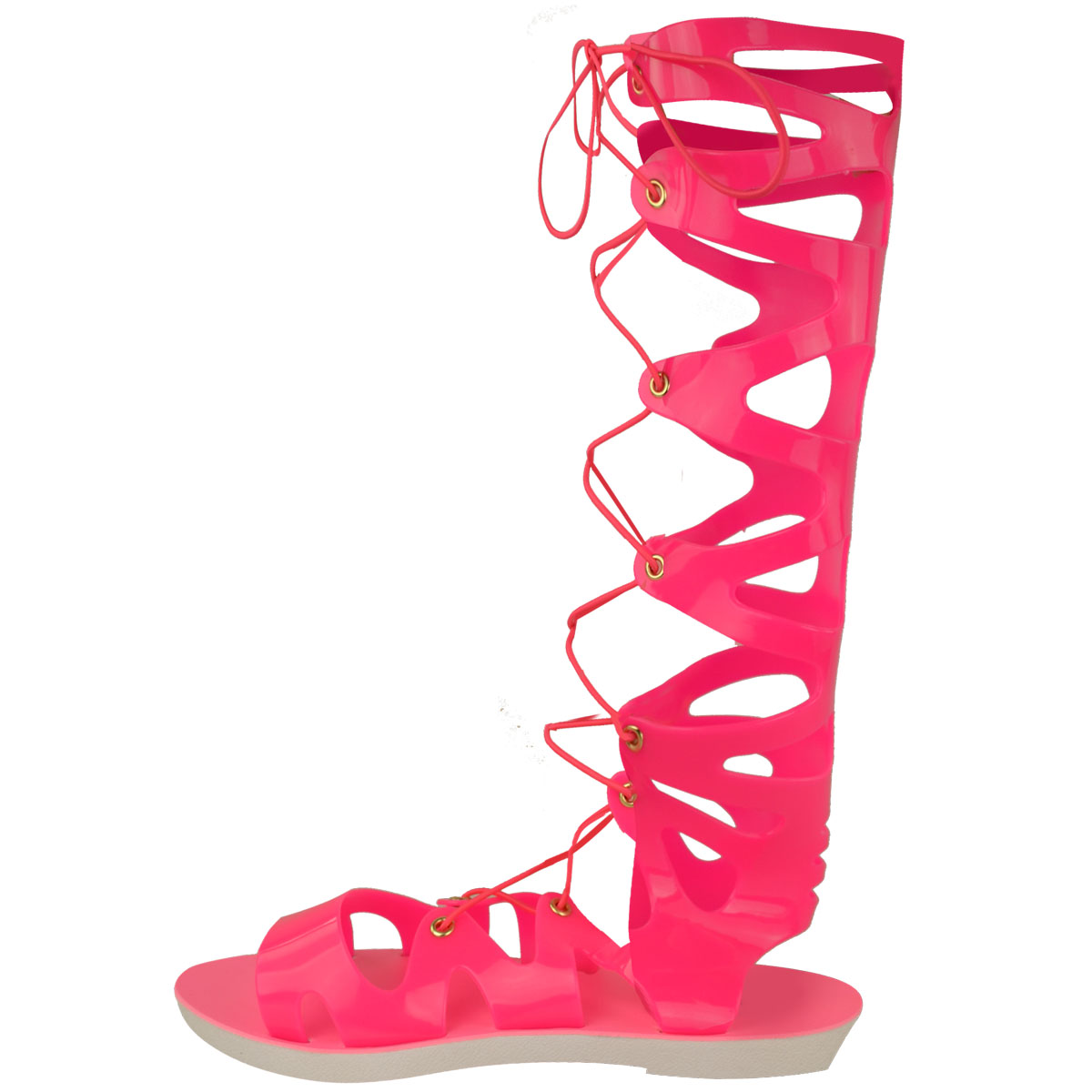 Womens-Ladies-Flat-Knee-High-Gladiator-Sandals-Strappy-Beach-Cut-Out-Boots-Size thumbnail 8