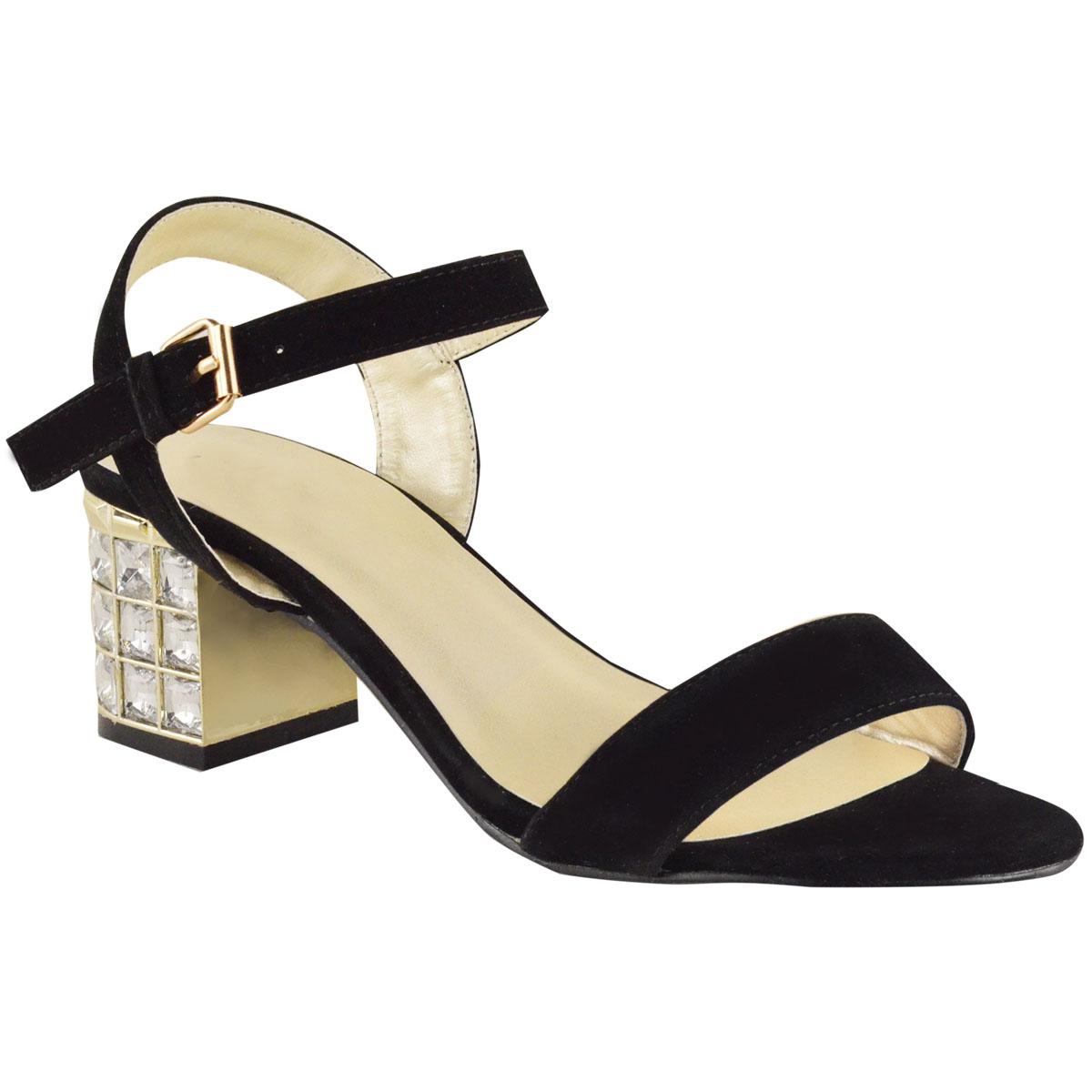 Black party sandals - Ladies Womens Diamante Sandals Low Heel Evening Ankle