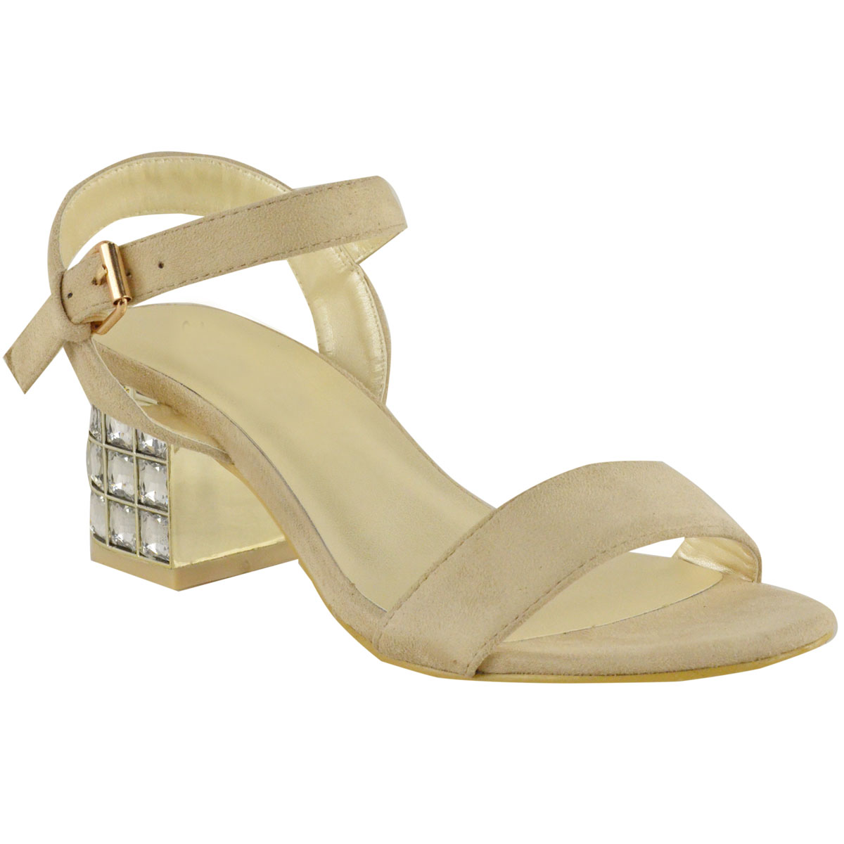 LADIES WOMENS DIAMANTE SANDALS LOW HEEL EVENING ANKLE STRAP MID HEELS PARTY SIZE