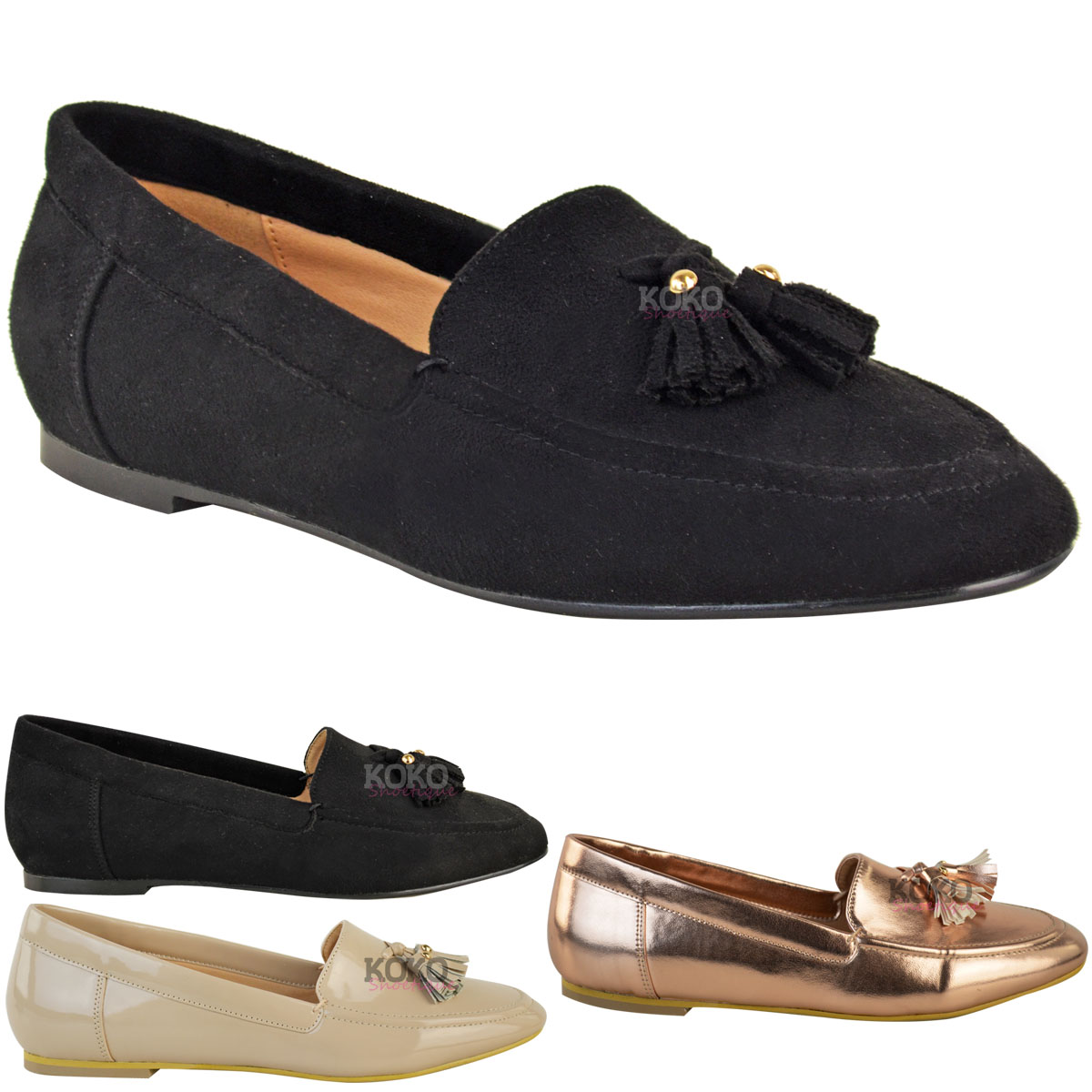 Womens-Ladies-Flat-Casual-Office-Tassel-Loafers-Pumps-