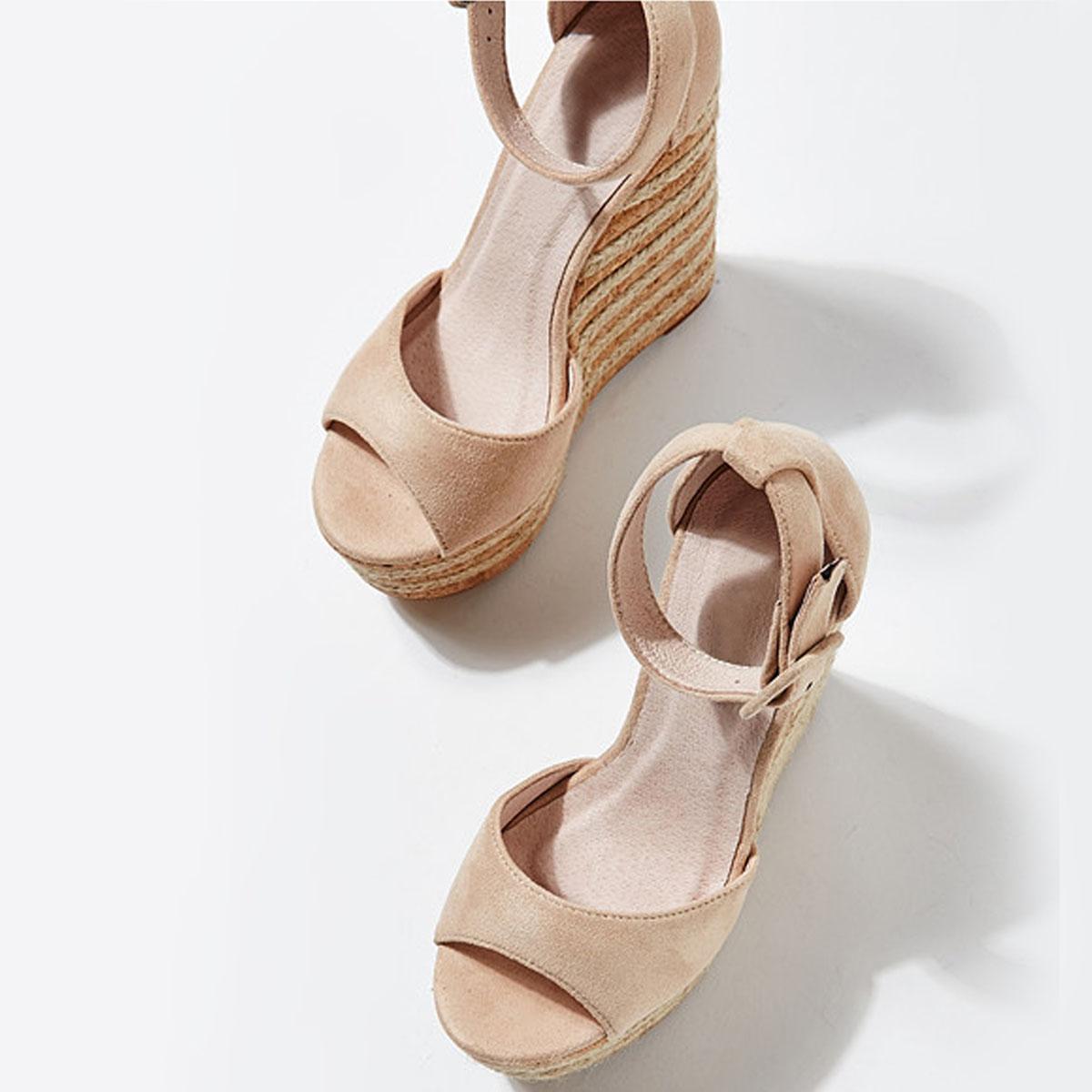 Womens Ladies High Heel Platform Wedge Summer Sandals Espadrilles Party Size UK