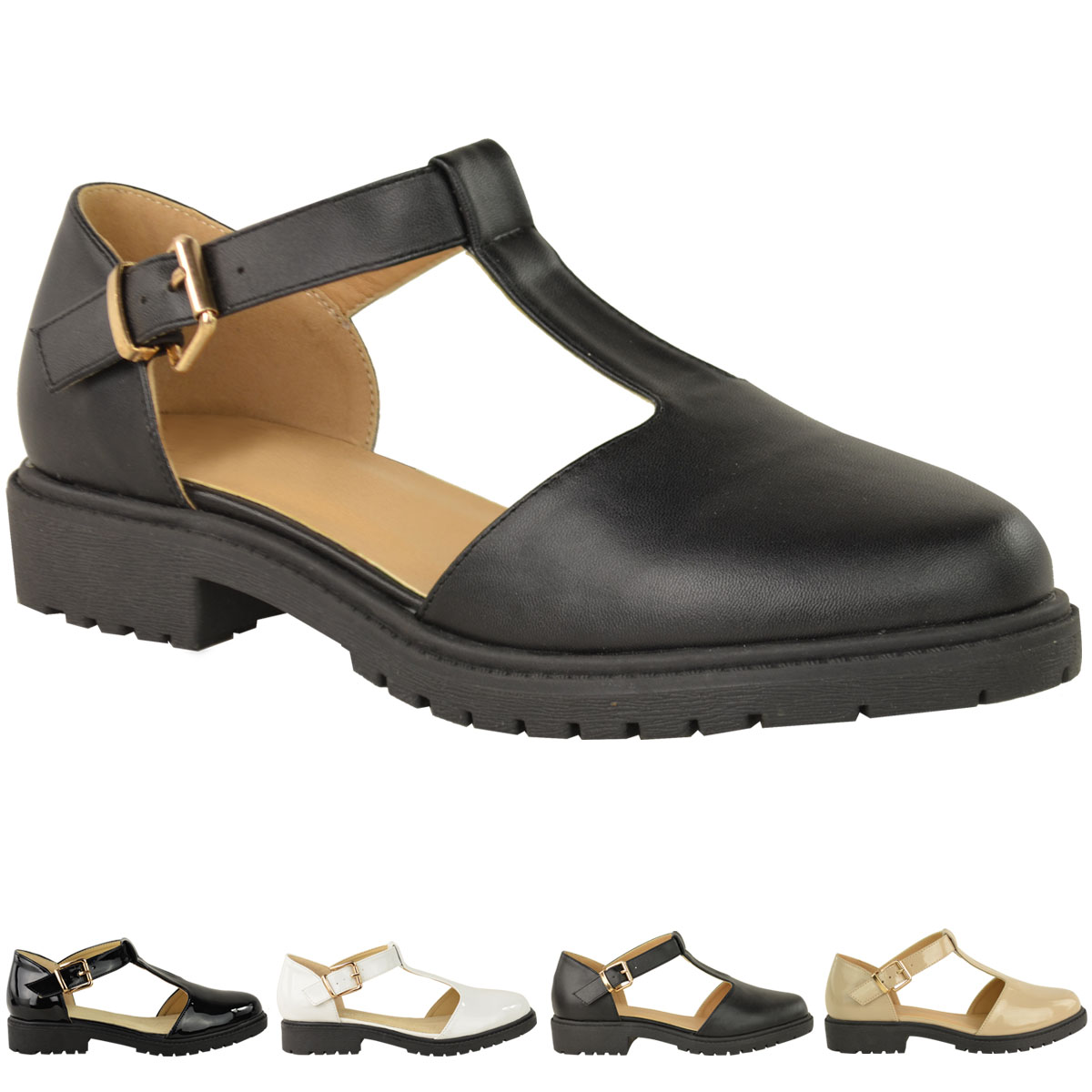 Womens Chunky Sole Dolly Shoes