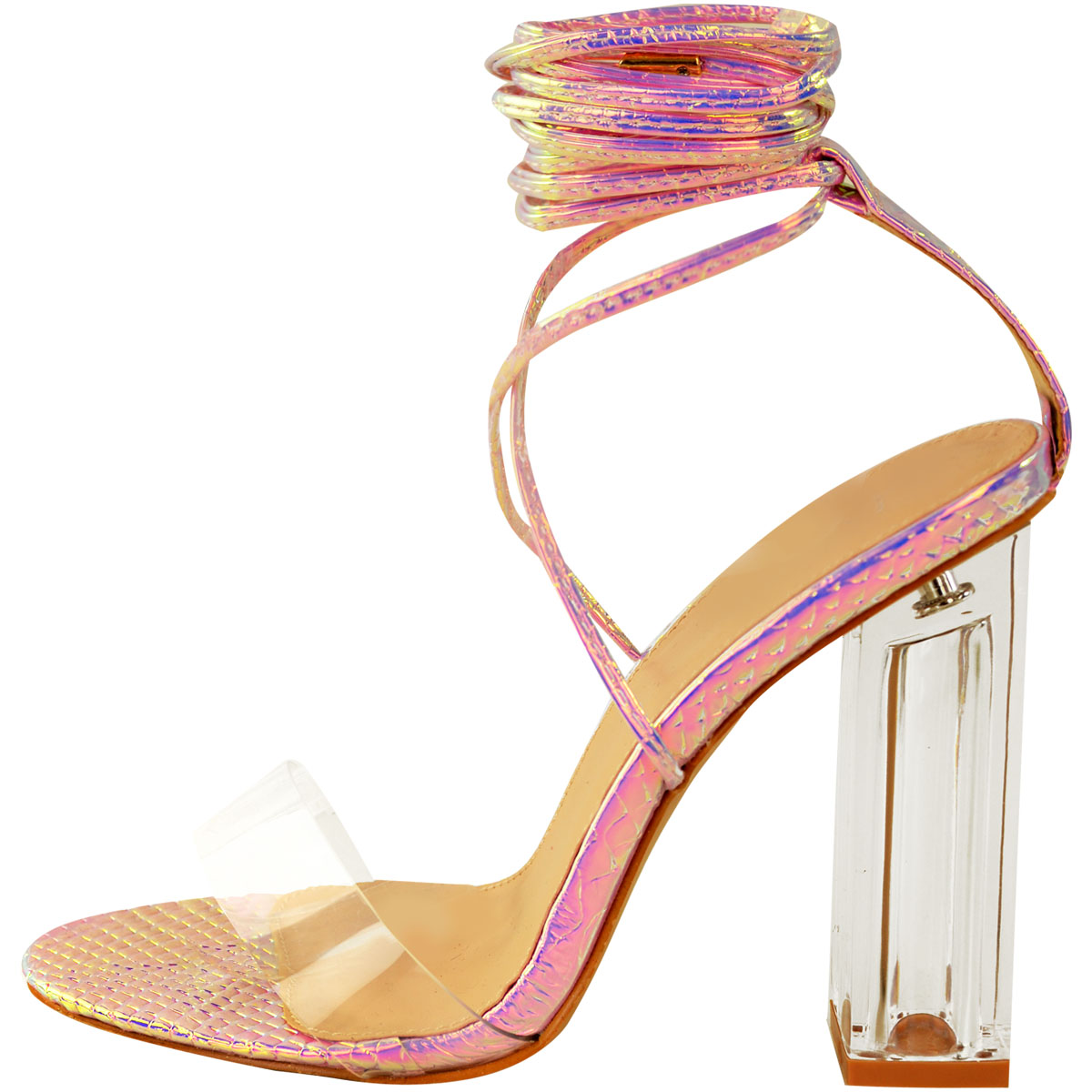Womens-Ladies-Block-High-Heels-Sandals-Perspex-Strappy-Lace-Tie-Up-Sexy-Party