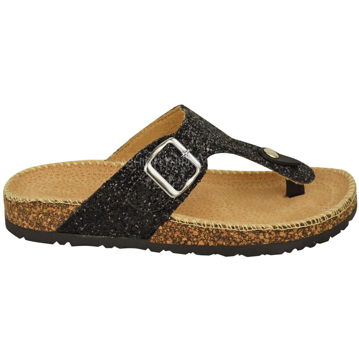 2d87dd59036 Ladies Womens Flat Sandals Glitter Flip Flops Slip On Toe Post Thong ...