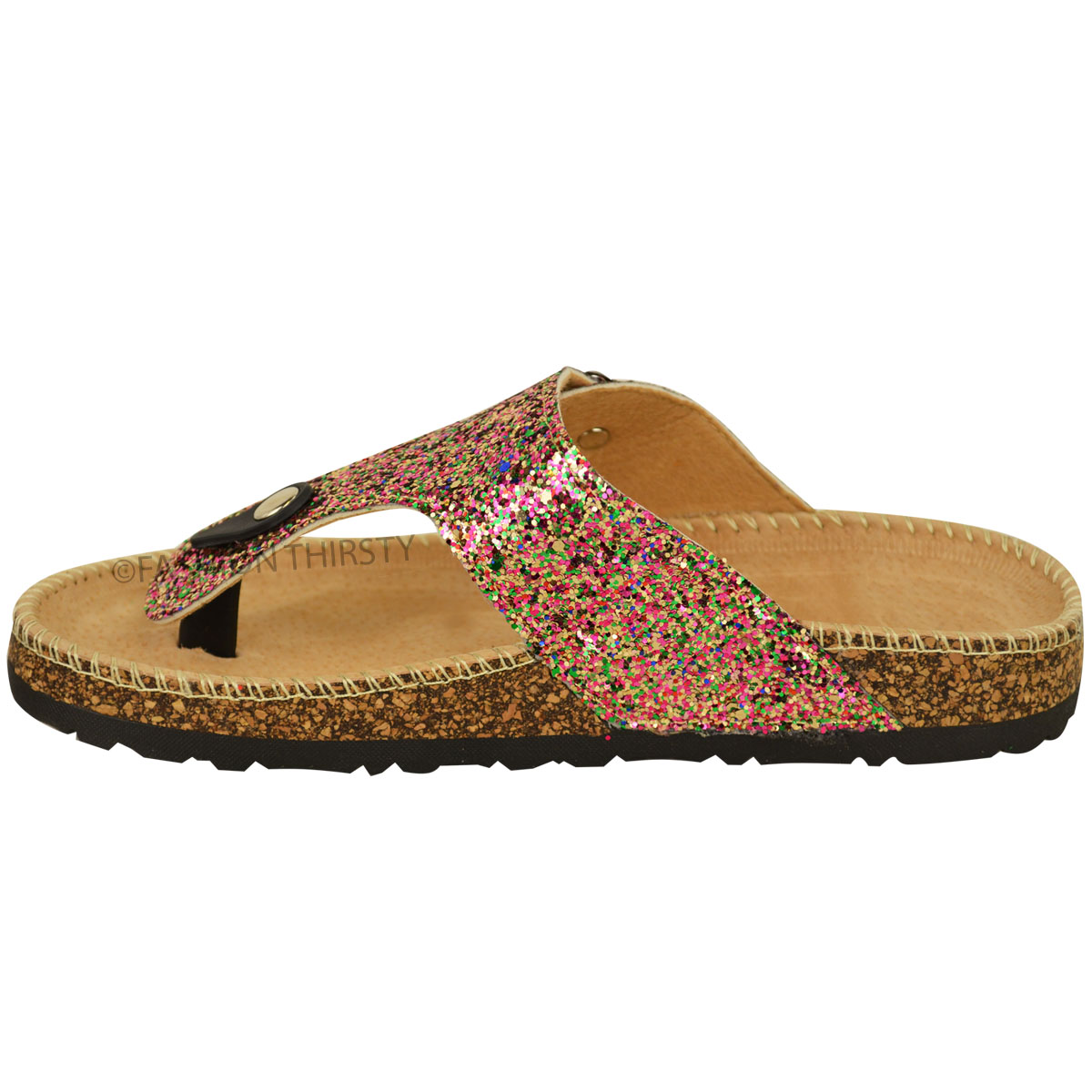 ladies womens flat sandals glitter flip flops slip on toe post thong grip size ebay. Black Bedroom Furniture Sets. Home Design Ideas