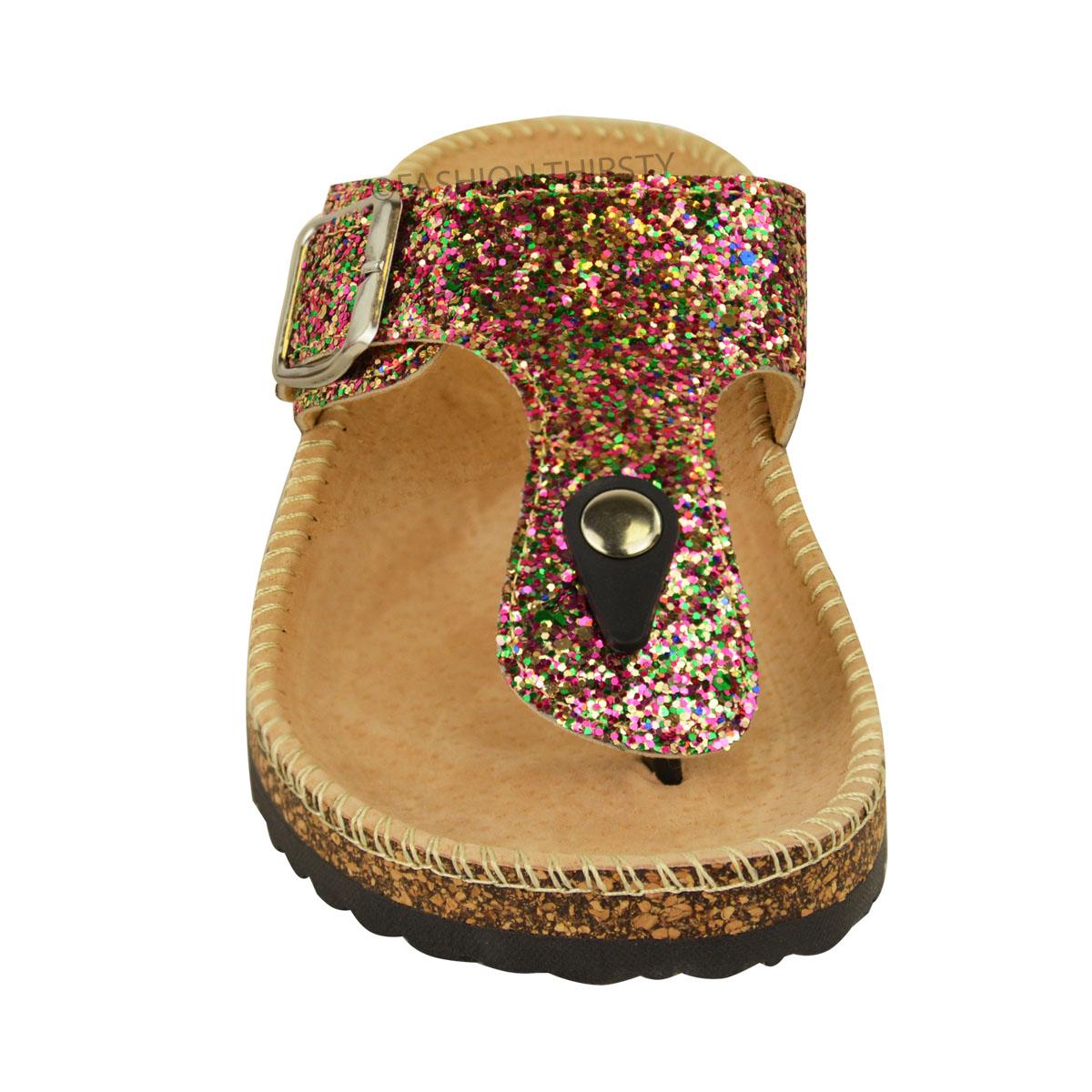 ladies womens flat sandals glitter flip flops slip on toe. Black Bedroom Furniture Sets. Home Design Ideas
