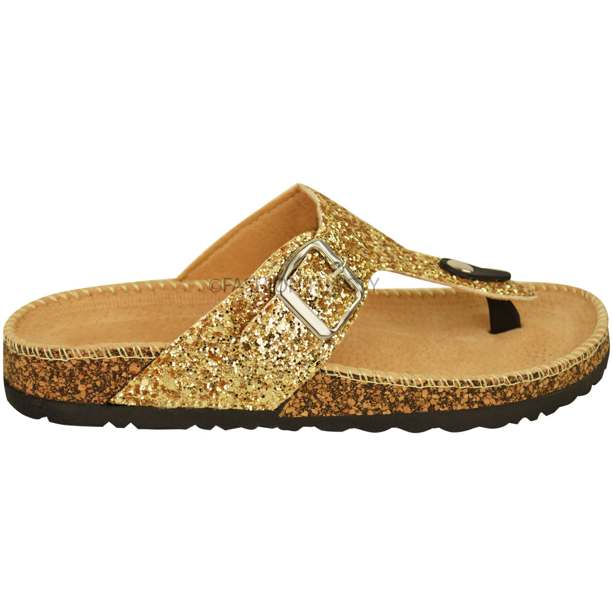 ladies womens flat sandals glitter flip flops slip on toe post thong grip size ebay. Black Bedroom Furniture Sets. Home Design Ideas