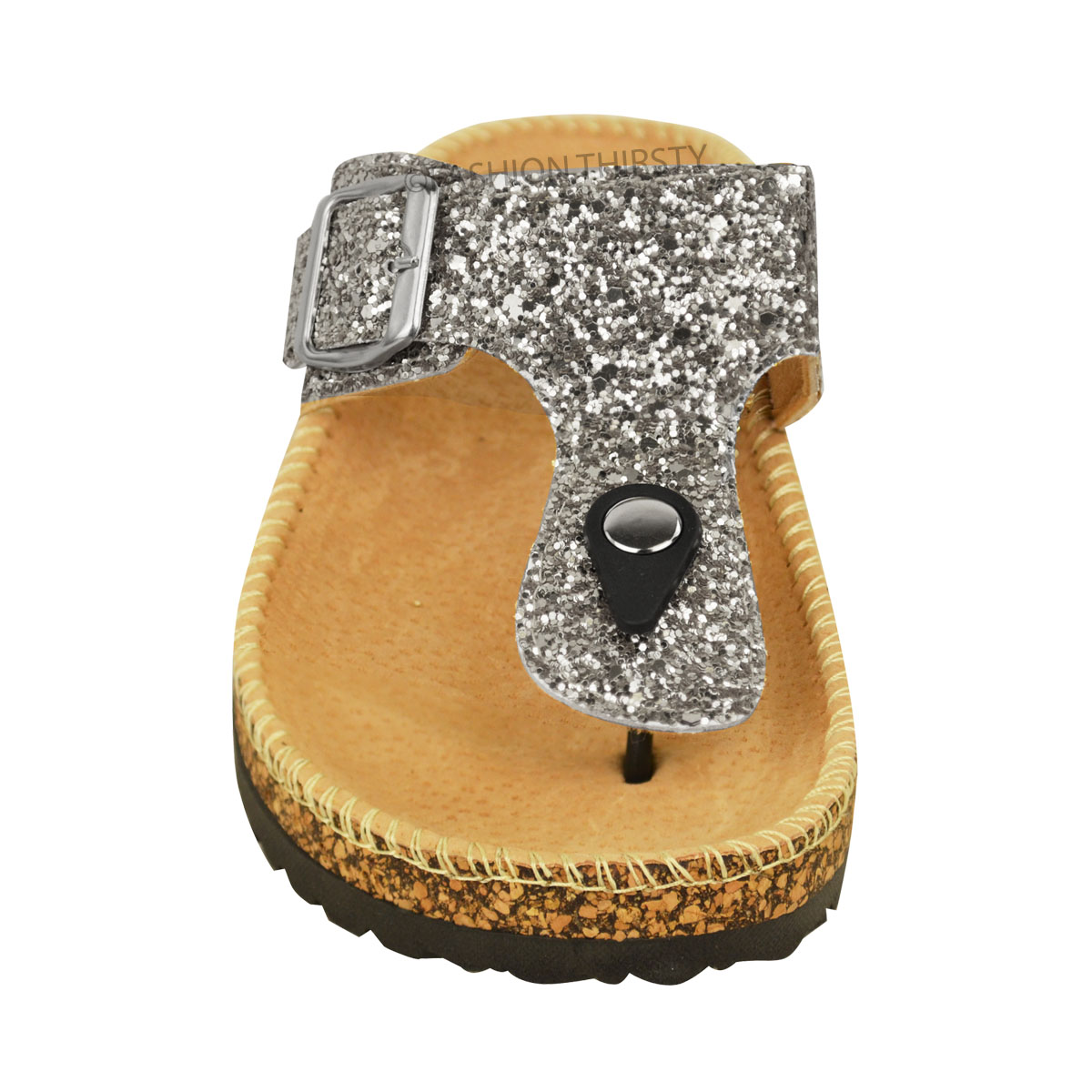 Ladies Womens Flat Sandals Glitter Flip Flops Slip On Toe