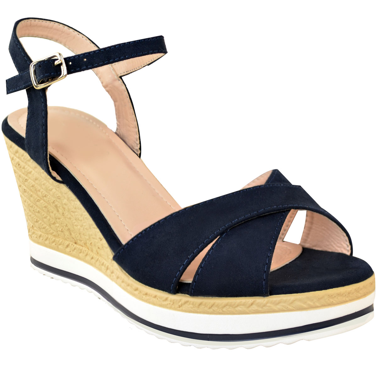 Details about New Womens Ladies Low Wedge Heel Summer Sandals Open Toe Comfort Casual Size