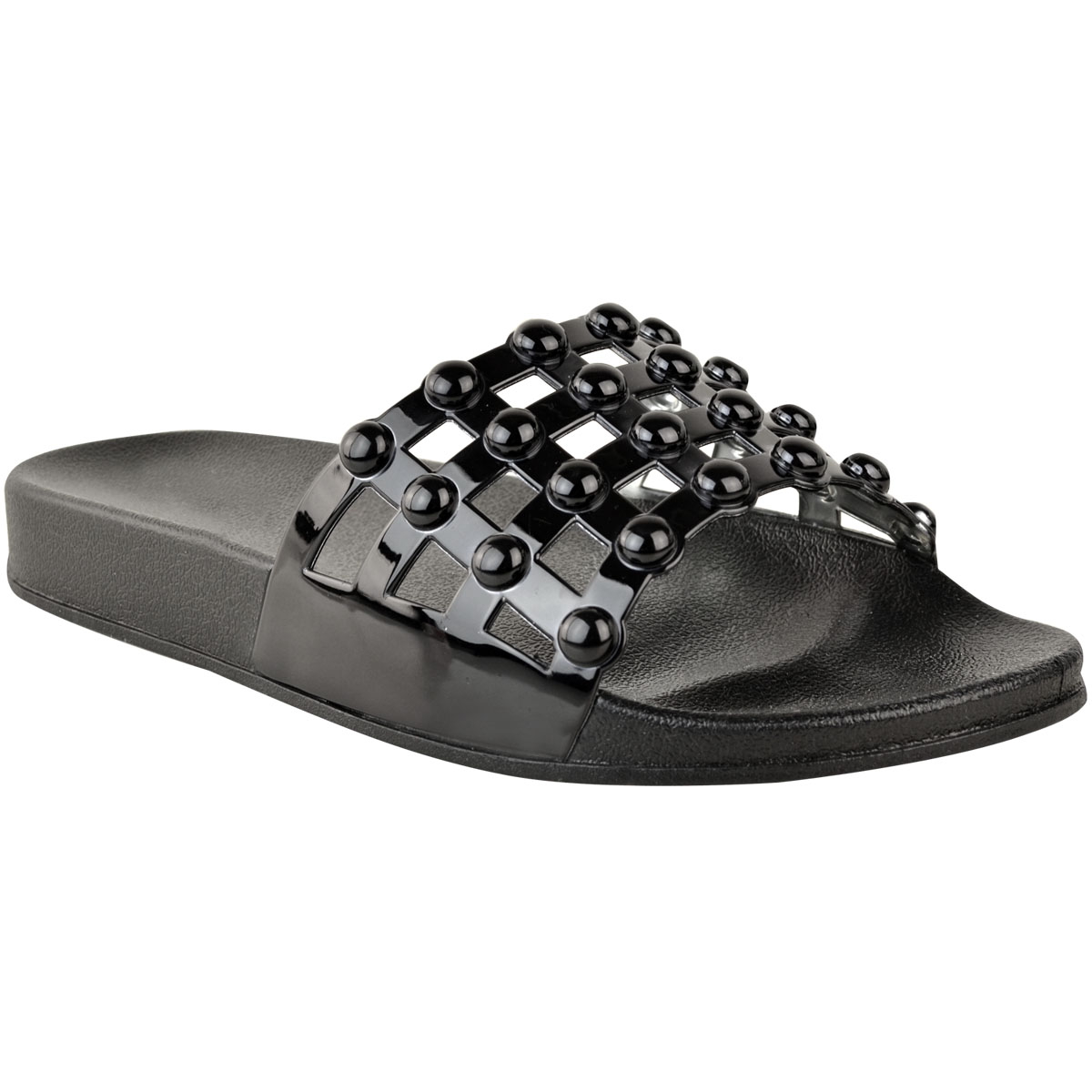 9013adad4023 Womens Flat Summer Sandals Sliders Studded Slip On Comfort Open Toe ...