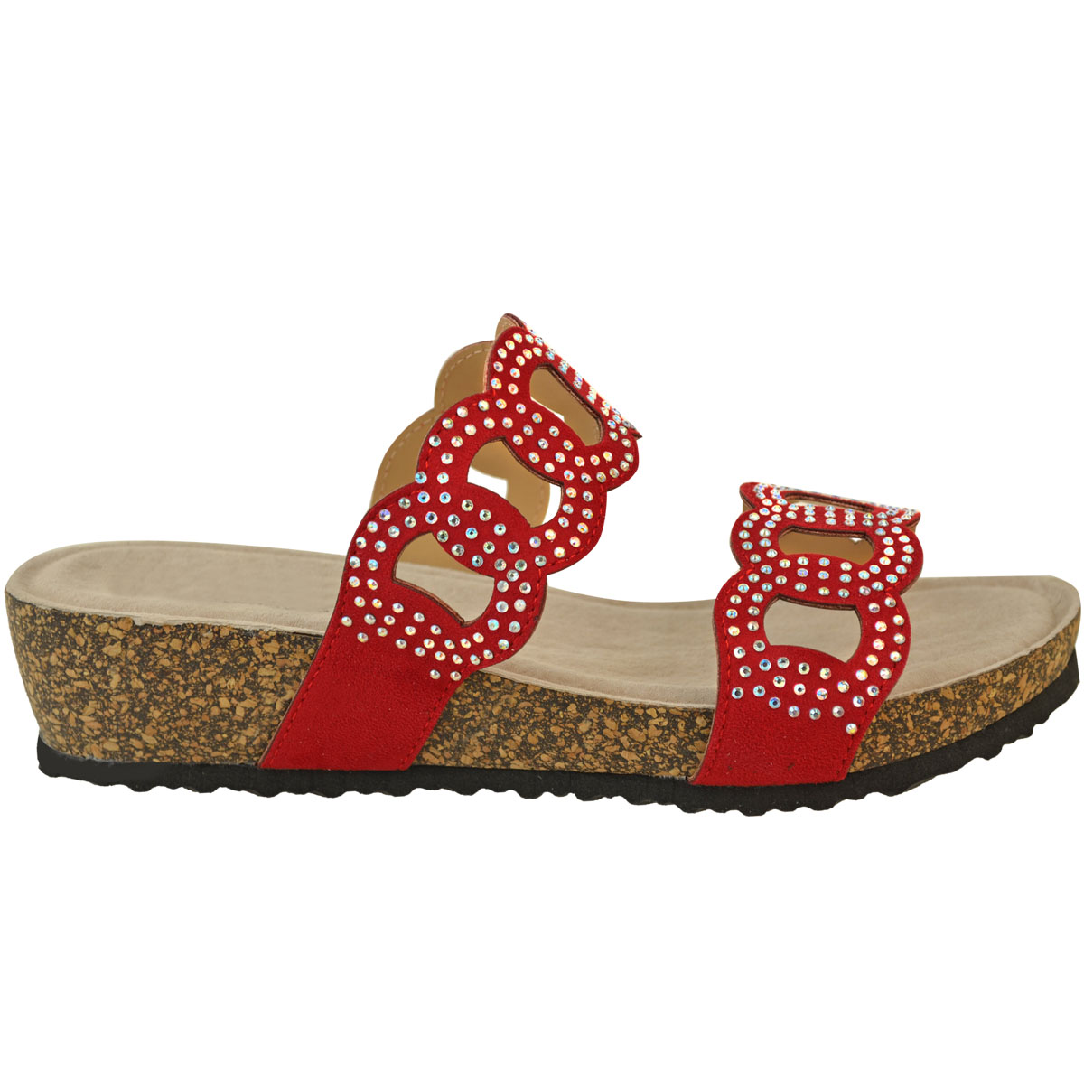 Womens-Ladies-Low-Wedge-Comfort-Cushioned-Sandals-Diamante-Wedding-Party-Shoes