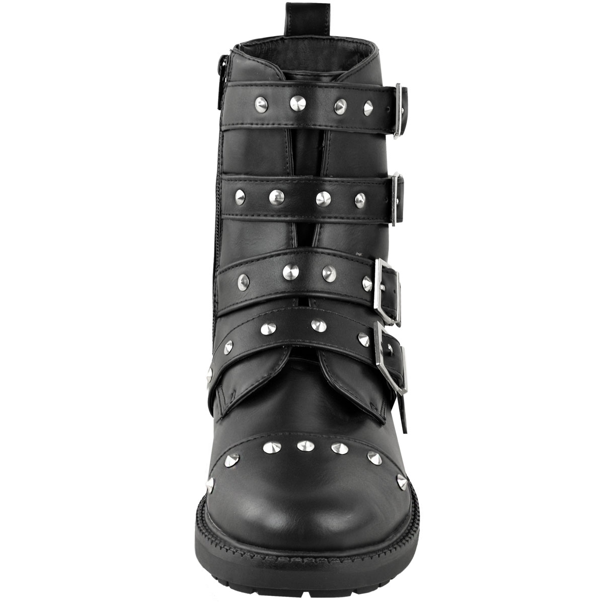 Womens Ankle Boots Ladies Army Combat Flat Grip Sole Studded Buckle Shoes Size