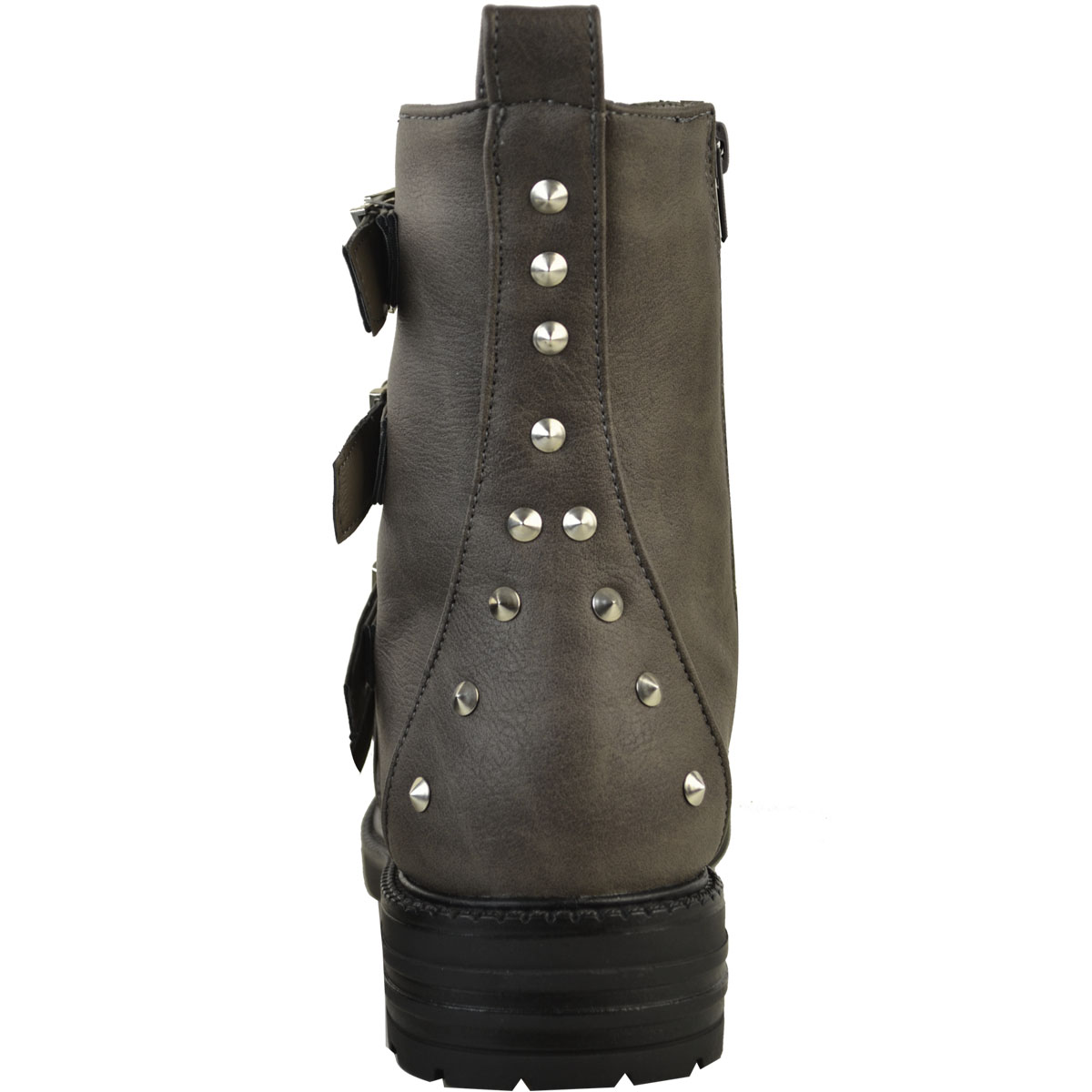 688fa7d2eeee Ladies Womens Studded Flat Ankle Boots Buckle Chunky Grip Biker Punk ...