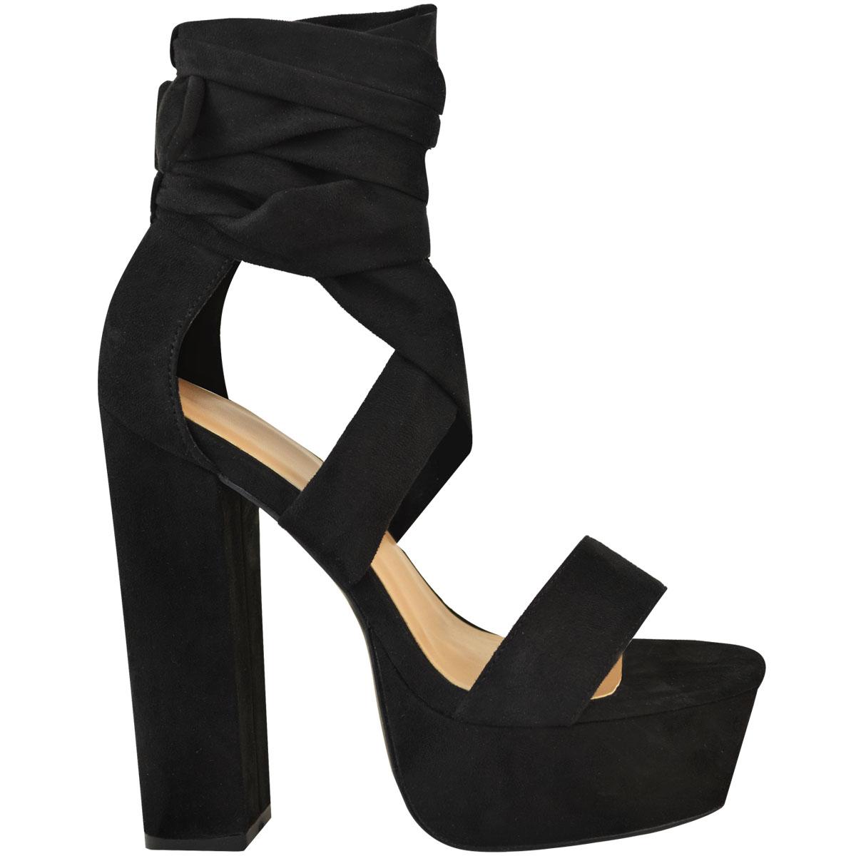 Damas-de-Encaje-Tacones-Altos-De-Bloque-Plataformas-Sandalias-Zapatos-Para-Mujer-Tipo-Corbata-Fiesta