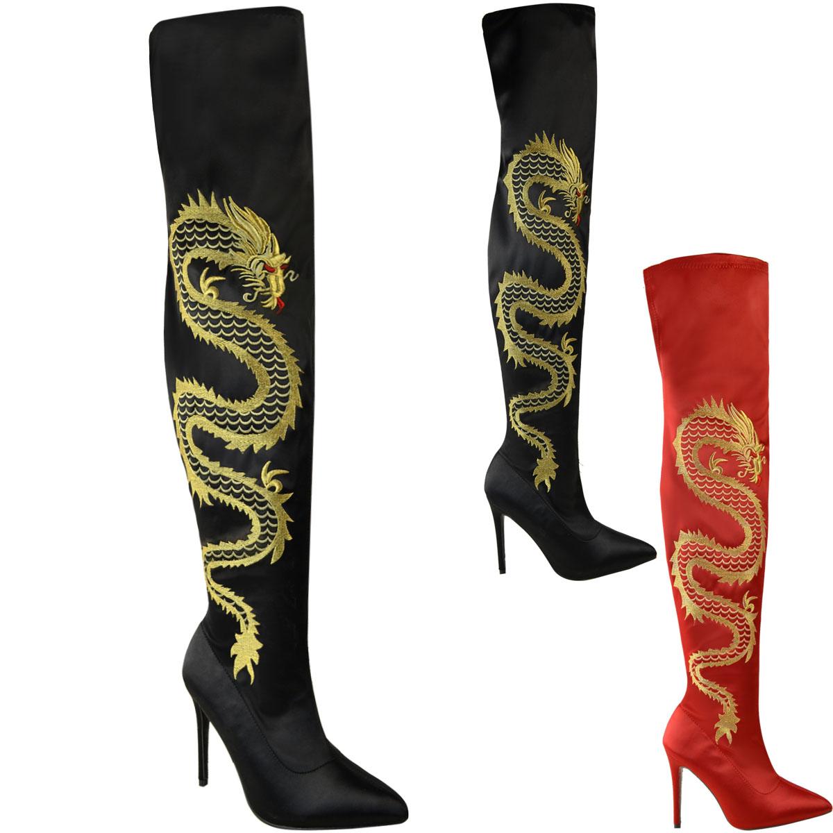 Nuevas Botas Para Mujer Damas Satén Elastizado muslo Serpiente Dragon Tacones Altos Zapatos Talla