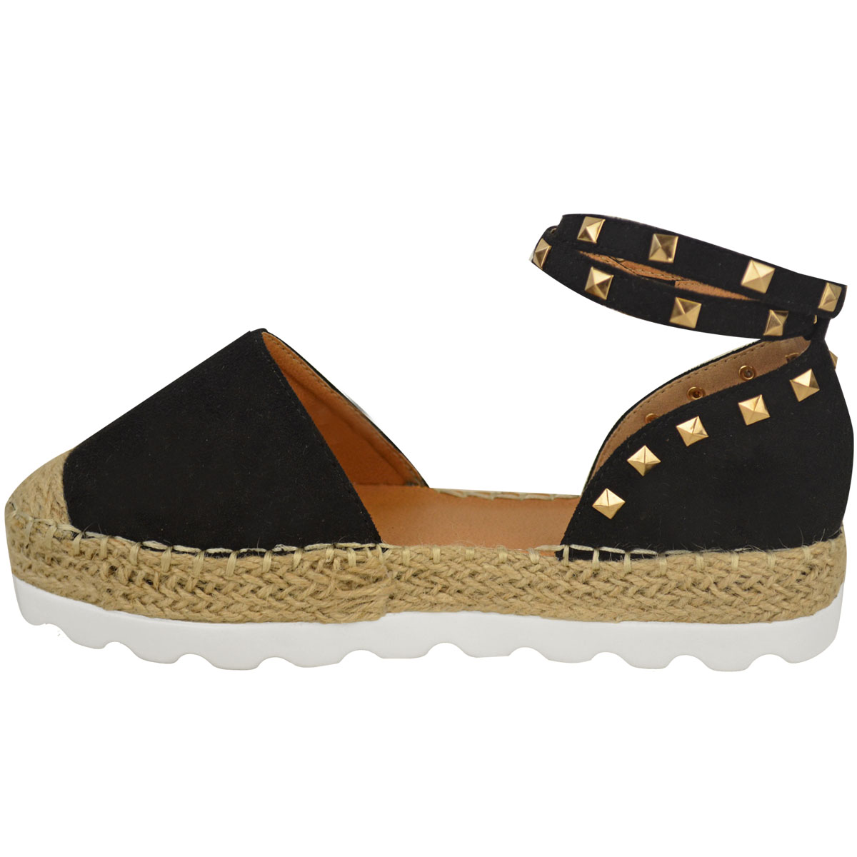 Womens-Ladies-Espadrilles-Flat-Pom-Pom-Sandals-Slip-On-Strappy-Comfy-Size-Shoes thumbnail 8