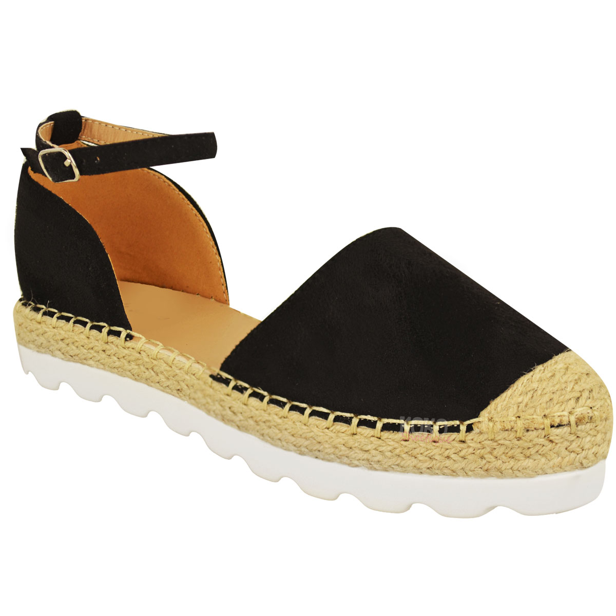 3cdd0ca34e2be Womens Ladies Ankle Strap Flat Sandals Moccasins Espadrilles Summer ...