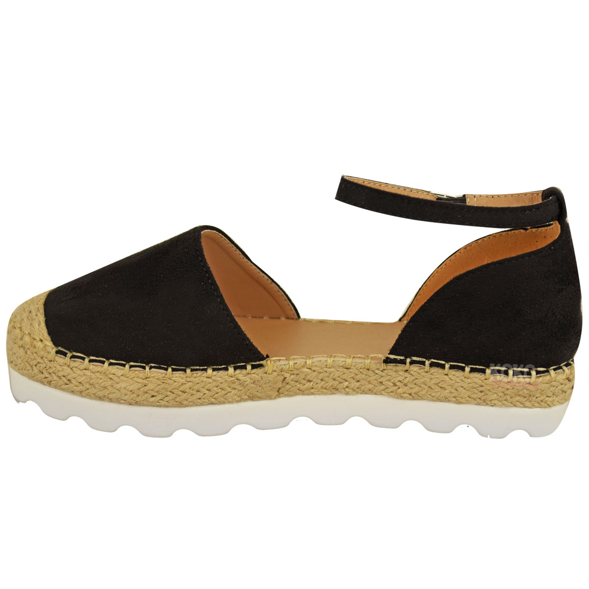 Womens Ladies Ankle Strap Flat Sandals Moccasins ...