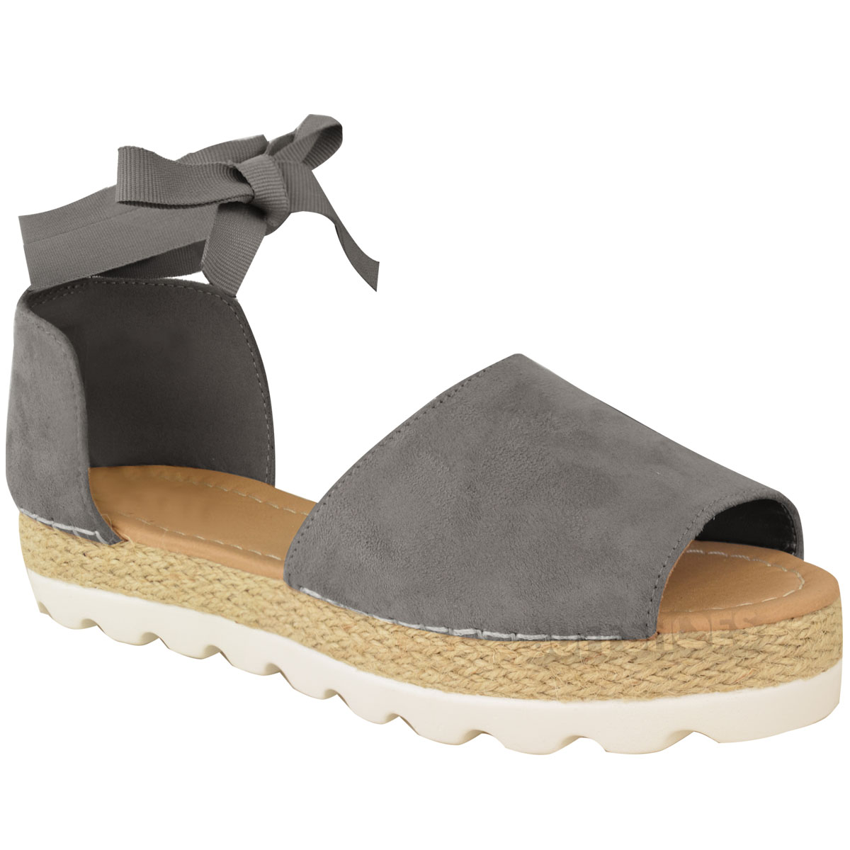 Womens Ladies Flat Lace Up Sandals Espadrilles Summer ...