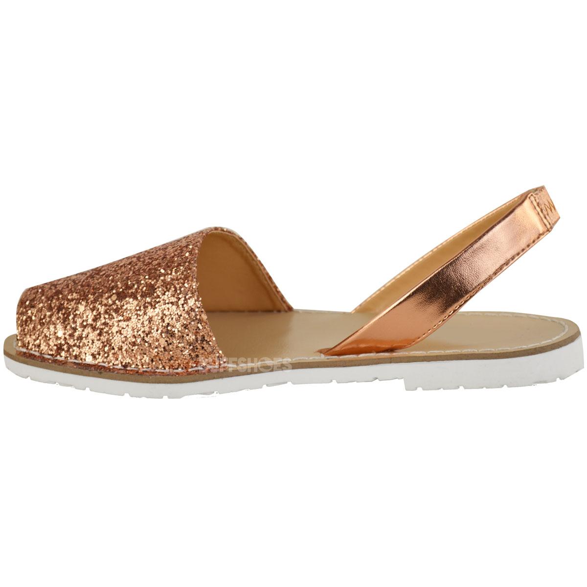 Womens Ladies Summer Menorcan Glitter Sandals Slingback Flip Flops Beach Size UK