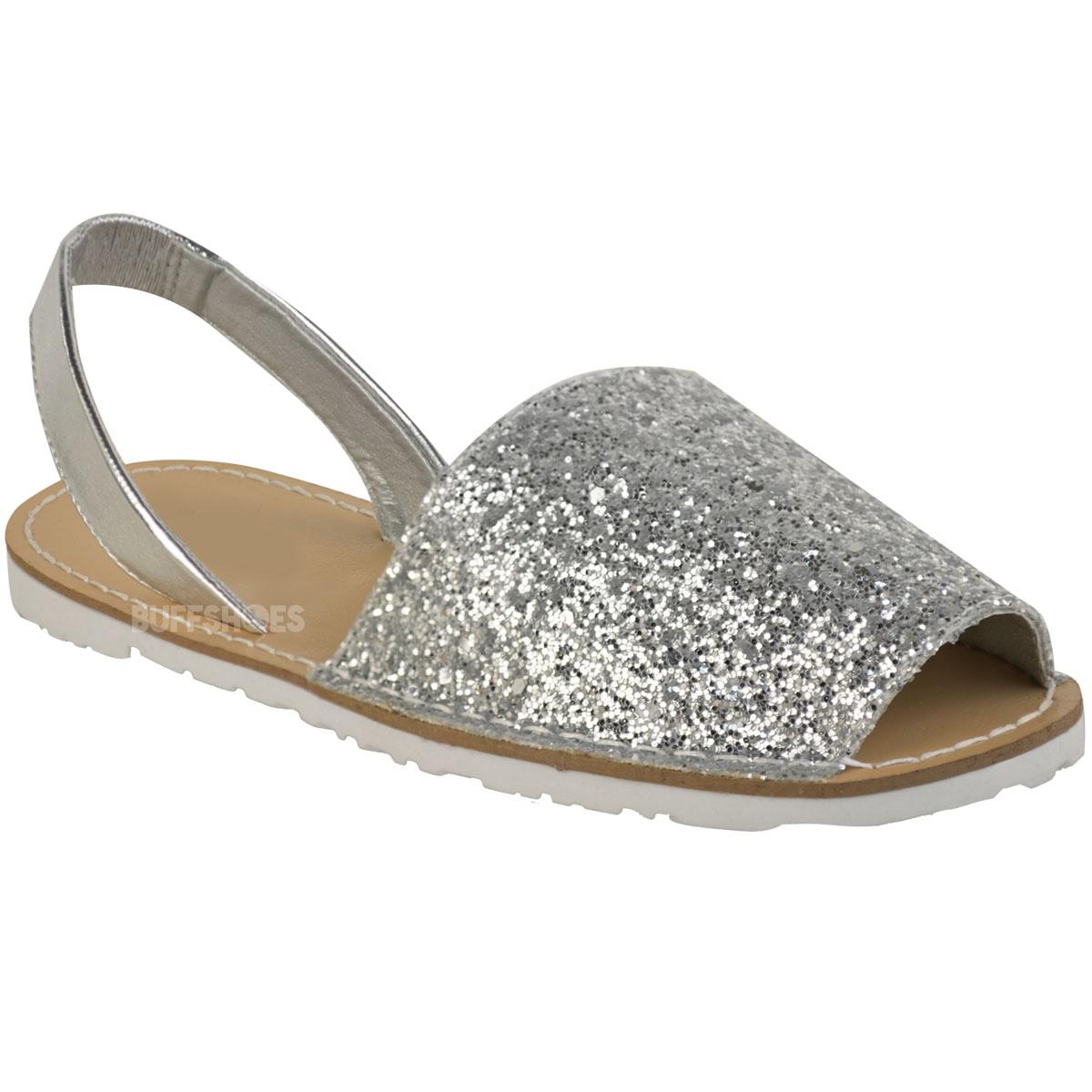 womens ladies summer menorcan glitter sandals slingback. Black Bedroom Furniture Sets. Home Design Ideas