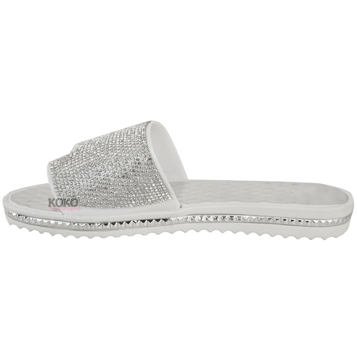 4b196cabd Womens Ladies Flat Diamante Beach Holiday Casual Sandals Summer Low ...