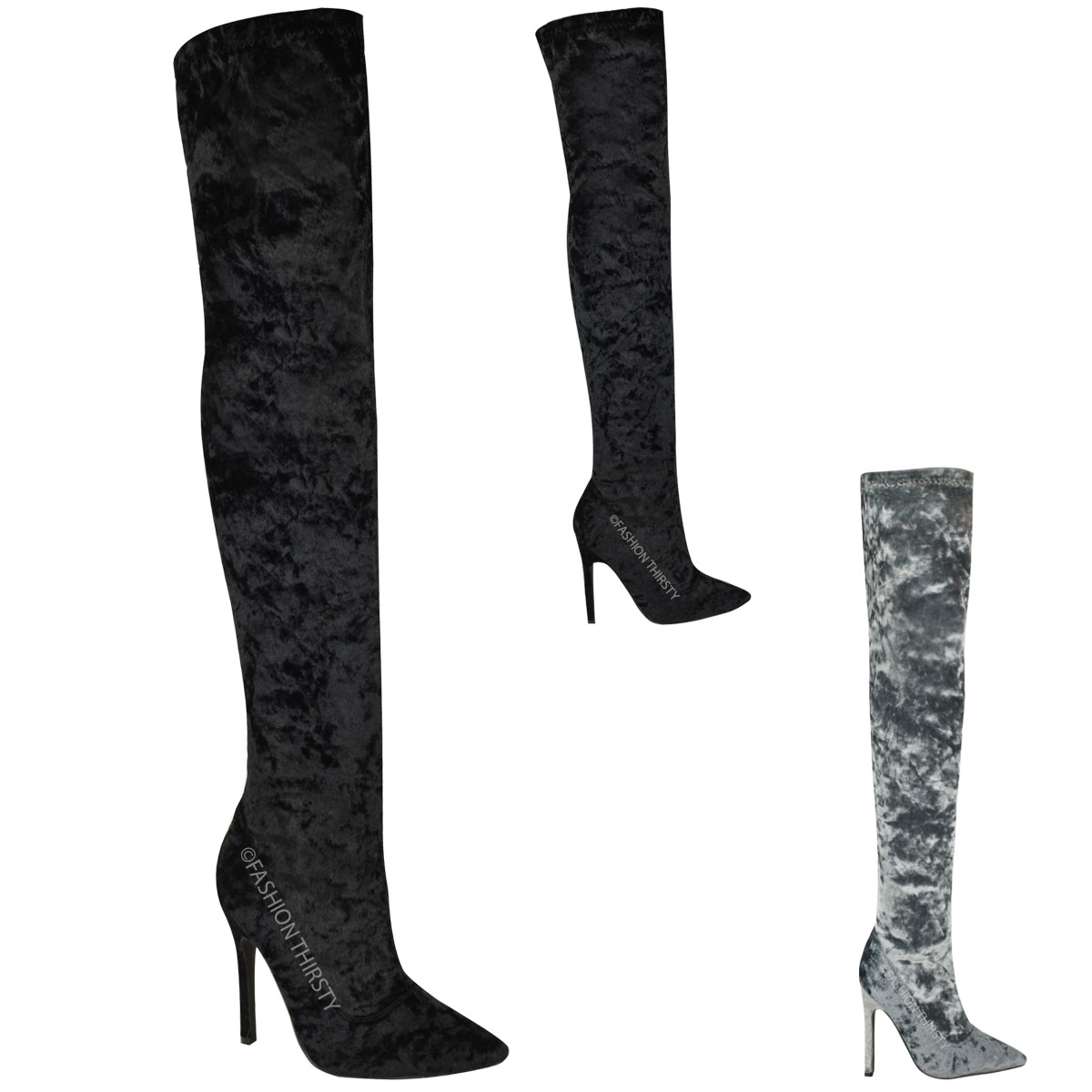 womens ladies thigh high boots over the knee stilettos. Black Bedroom Furniture Sets. Home Design Ideas
