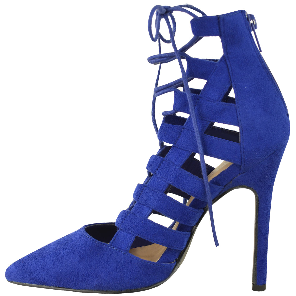 womens cut out lace up high heel strappy pointed