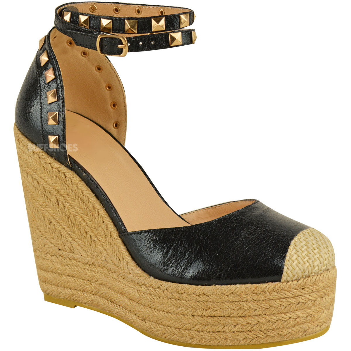 GUESS Womens Size 7.5 Wedge Gold Strappy Cork Wood Wedge