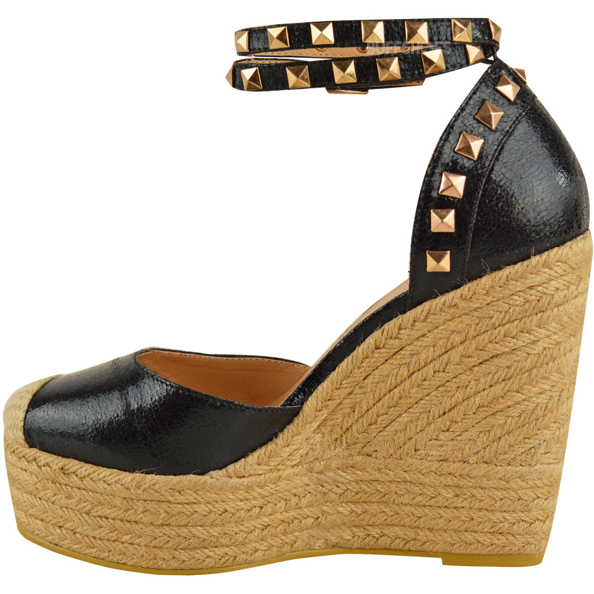 Womens Ladies Stud Espadrille Wedge Summer Sandal Platform