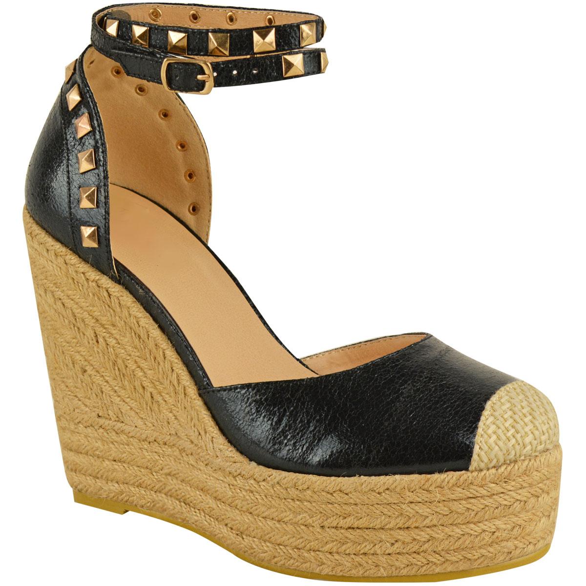 New Womens Stud Espadrille Wedge Summer Sandal Ladies Rose ...