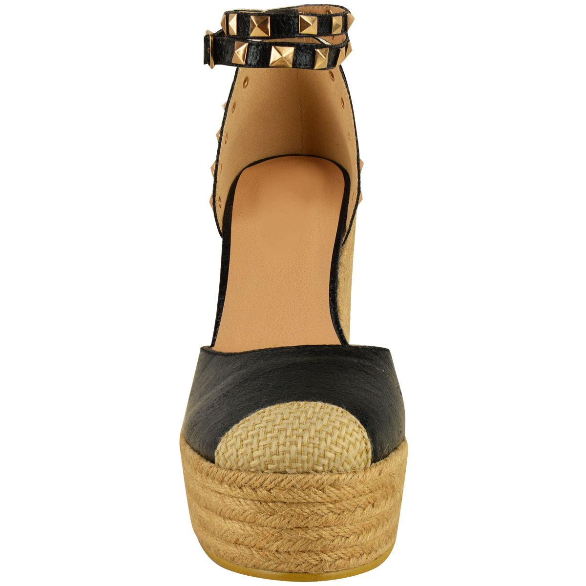 New-Womens-Stud-Espadrille-Wedge-Summer-Sandal-Ladies-Rose-Gold-Party-Shoes-Size thumbnail 21