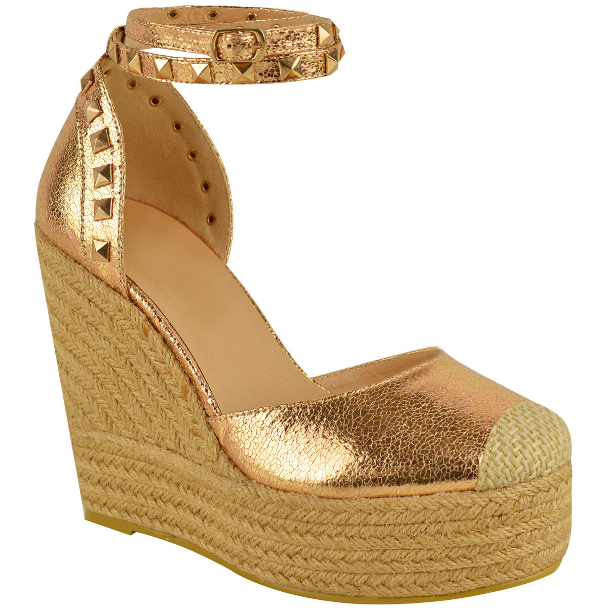 New-Womens-Stud-Espadrille-Wedge-Summer-Sandal-Ladies-Rose-Gold-Party-Shoes-Size thumbnail 22