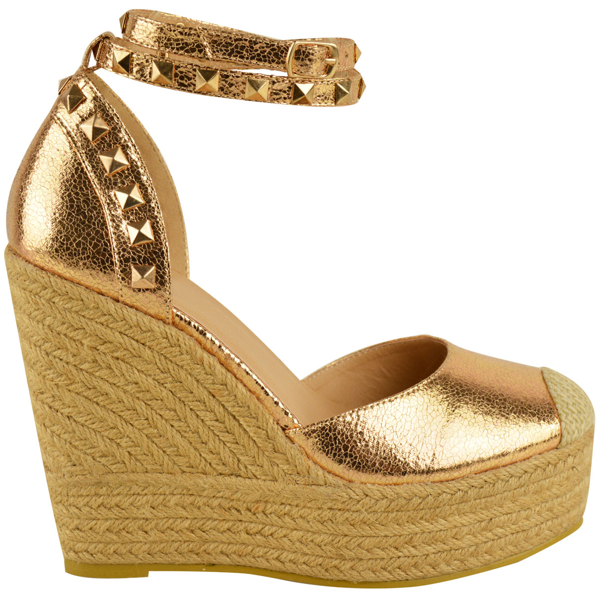 New-Womens-Stud-Espadrille-Wedge-Summer-Sandal-Ladies-Rose-Gold-Party-Shoes-Size thumbnail 23