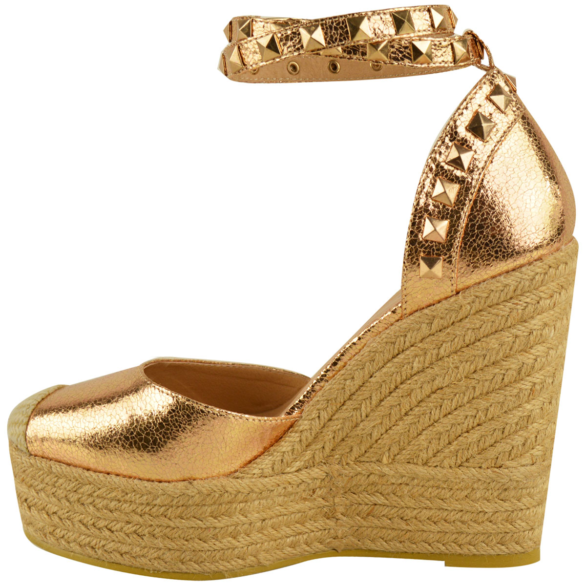 New-Womens-Stud-Espadrille-Wedge-Summer-Sandal-Ladies-Rose-Gold-Party-Shoes-Size thumbnail 24