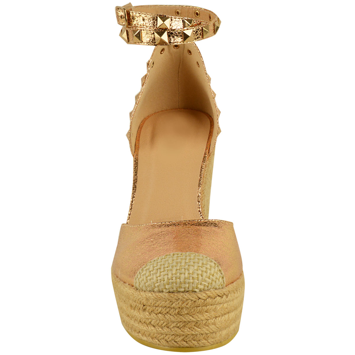 New-Womens-Stud-Espadrille-Wedge-Summer-Sandal-Ladies-Rose-Gold-Party-Shoes-Size thumbnail 25